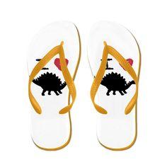 Truly Teague Women's I Love Dinosaurs - Stegosaurus Rubber Flip Flops Sandals ** Visit the image link more details.