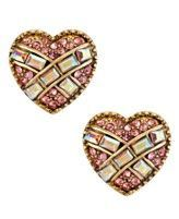 Betsey Johnson Gold-Tone Glass Crystal Heart Stud Earrings