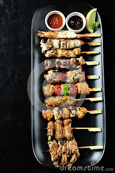 Photo about Japanese cuisine Grilled ,set yakitori. Image of asian, food, breast - 24875185 Japanese Dishes, Japanese Food, Asian Recipes, Healthy Recipes, Ethnic Recipes, Vegetarian Recipes, Aperitivos Finger Food, Easy Cooking, Cooking Recipes