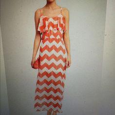 Ruffle Front zig zag maxi dress Coral and ivory maxi dress 3 hearts Dresses Maxi