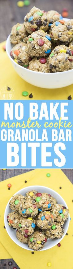 No Bake Monster Cookie Granola Bar Bites - these no bake granola bar bites taste just like monster cookies, without the flour and white sugar. They're perfect for a healthier snack!No Bake Monster Cookie Granola Bar Bites - these no bake granola bar bites taste just like monster cookies, without the flour and white sugar. They're perfect for a healthier snack!