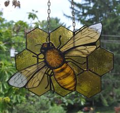 Hand Painted Stained Glass Honey Bee on Honeycomb Hanging Panel