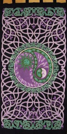 Celtic Yin Yang Tab Top Curtain-Door Panel-Teal/Purple by India Arts. $19.87. 100% Cotton. Unique Home Decor. Machine Washable. 44 x 88 inches. CELTIC TAB TOP PANEL~ Quite a combination in this Celtic, Celestial, Yin Yang panel. In shades of forest green and purple it is made of 100% power-loomed cotton, offering a nice smooth, tight weave. Can be used for doors and windows. Panel measures approximately 44 inches wide X 88 inches tall including the tabs. They are c...