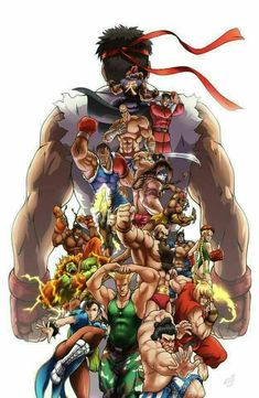 Street Fighter 5 all characters Street Fighter Tekken, Street Fighter Characters, Super Street Fighter, Street Fighter Wallpaper, Bartop Arcade, Street Fights, King Of Fighters, Fighting Games, Fan Art