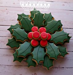 Holly Platter of 3 doz cookies by ChrisCreativeConfect on Etsy