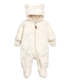 Check this out! Snuggle suit in soft pile with feet and mittens. Hood with attached ears, zip at front and along one leg, and openable, overlapping ribbing at cuffs. Jersey lining. - Visit hm.com to see more.
