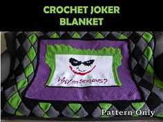 The Joker Crochet Blanket Pattern.  Why so serious?! #joker #batman #myvictoriarose