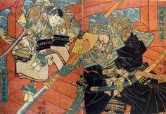 Utagawa Kunisada I / Ushiwakamaru und Benkei auf der Gojo no hashi