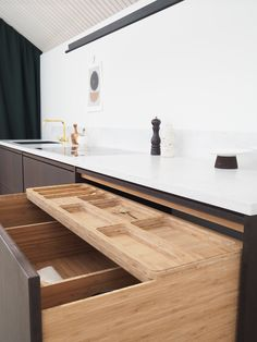 Bamboo drawer interior, nice! Details, bamboo kitchen by Ask og Eng