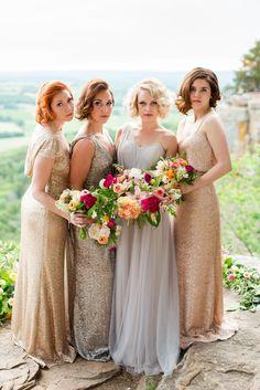 Metallic bridesmaids dresses by Sorella Vita available at Bucci's Bridal in Pewaukee, WI | www.buccisbridal.com.  Photography by @maisonmeredith. #metallicdresses #sequindresses #golddresses #bridesmaidsdresses #mothersdresses #newyearseve #specialoccasiondresses #glitterdresses #bridalshop #marriedinmke #wibride #weddinginspiration #wiwedding