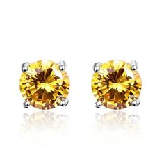 FREE Shipping Today on All Orders ! Round Citrine 925 Sterling Silver Yellow Stone Earrings