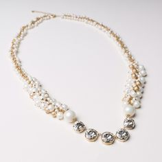 Chico's necklace. Elegant pearls with gorgeous stones and gold tone Chico's necklace. Brand new. Never worn before. Chico's Jewelry Necklaces