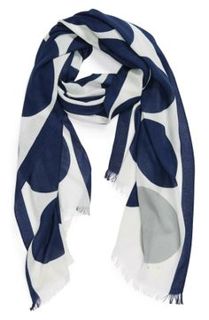 Cute scarf! Love the big bold blue polka dots on this Kate Spade scarf.