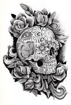 Risultati immagini per skull tattoos in memory of a lost one with flower