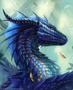 Exclusive Interview with a fantasy digital artist – Eva -Celebril Mythical Creatures Art, Mythological Creatures, Magical Creatures, Water Dragon, Blue Dragon, Gold Dragon, Mythical Dragons, Dragon Artwork, Dragon Drawings