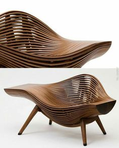 Korean artist Bae Se-hwa at Art Basel with his Steam 11 walnut chair. Art Furniture, Funky Furniture, Unique Furniture, Wooden Furniture, Wooden Chairs, Furniture Websites, Inexpensive Furniture, Furniture Chairs, Metal Chairs