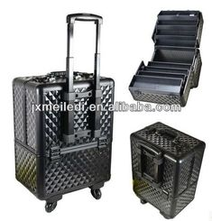 professional aluminum makeup lugguage cosmetic case with trolley $25~$35
