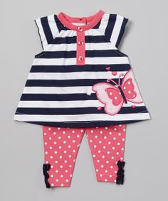 Another great find on #zulily! Peanut Buttons Pink & White Butterfly Tunic & Polka Dot Pants - Infant by Peanut Buttons #zulilyfinds