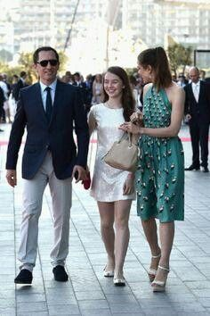 Gad Elmaleh and his girlfriend Charlotte Casiraghi, and between them her half-sister Princess Alexandra of Hanover.