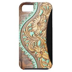 Western Style Turquoise and Tooled Leather Look iPhone 5 Covers