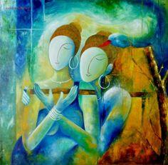 Beenu Gupta Krishna Leela, Krishna Radha, Lord Krishna, Shiva, Indian Artwork, Indian Paintings, Indian Contemporary Art, Krishna Painting, India Art