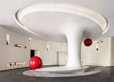 建E室内设计网 Ceiling Design, Wall Design, House Design, Futuristic Design, Retro Futuristic, Columns Decor, Interior Design Living Room, Interior Decorating, Nendo Design