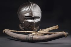 A helmet of Maximilian type, circa 1520 & a late-Gothic crossbow, South Germany, circa Medieval, Landsknecht, Crossbow, 16th Century, Weapons, Helmet, Oxford Shoes, Antiquities, Knights