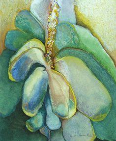 """Mullein by M. Kolsoum Ginney Oil Pastel ~ 16"""" x 13"""""""