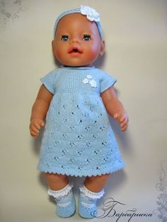 Barbie Knitting Patterns, Knitted Doll Patterns, Knitting Dolls Clothes, Knitted Dolls, Doll Clothes Patterns, Baby Born Clothes, Bitty Baby Clothes, Crochet Baby Clothes, Knitting For Kids