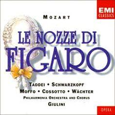 Le Nozze di Figaro [CD] : Òpera buffa en quatre actes composta per Wolfgang Amadeus Mozart, amb llibret en italià de Lorenzo da Ponte i estrenada al Burgtheatre de Viena l'any 1786. Es tracta d'una de les grans creacions operístiques de la història que des de la seva estrena ha gaudit sempre de gran èxit i ha format part del repertori operístic de tots els temps i teatres.
