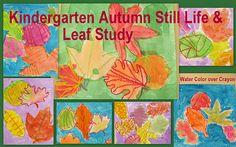 Kindergarten paintings: fall still life