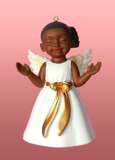 African American Christmas Ornament Angel Worship White >>> You can get more details by clicking on the image.