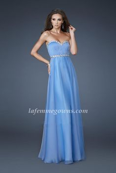 Strapless Cheap La Femme 18253 Long Prom Dresses Periwinkle Simply