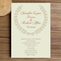 inexpensive green leaves bohemian wedding invitations EWI276 |
