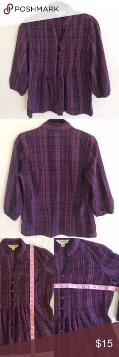 ❤St. John's Bay Petite Purple Plaid Top - St. John's Bay - Purple Plaid  - 3/4 Sleeve  - Elastic hem on sleeves - 100% Cotton - Extra button sewn inside seam. - No Trades. Preloved. No rips or stain. Some piling. - Effortlessly chic, a style staple for your basic wardrobe, casual chic. St. John's Bay Tops Blouses