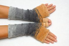 Fingerless Mittens Arm Warmers Knit by PrettyCrochetForYou on Etsy