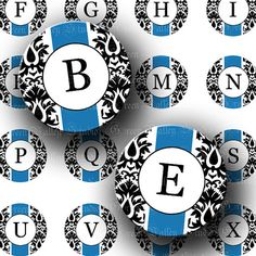 INSTANT DOWNLOAD Blue Damask Elegant Alphabet by greenvalley (Craft Supplies & Tools, Scrapbooking Supplies, Scrapbooking Clip Art, circle, round, inchies, bottlecap, bottle cap, pendant, scrapbooking, scrapbook, letters, initial, words, cabochon, jewelry)