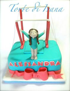 Birthday Cake Gymnastics Cakes, Gymnastics Birthday, Fondant Cakes, Cupcake Cakes, Sport Cakes, Novelty Cakes, Girl Cakes, Cake Tutorial, Cute Cakes
