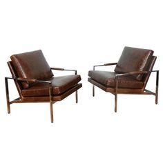 Image of Milo Baughman by Thayer Coggin Chrome Chair - Pair