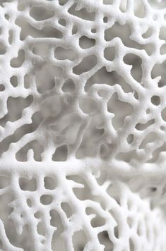 RE PINNED - White art by Michael Kukla. Michael Kukla creates organic surfaces by drilling and grinding out cellular-like structures in marble or plywood slabs. This organically designed sculpture looks like a macro of white coral. Organic Forms, Natural Forms, Natural Texture, Organic Art, 3d Texture, White Texture, Snow Texture, Tactile Texture, Texture Design