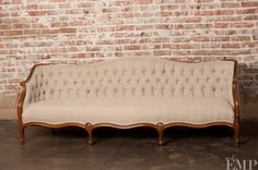 Linen upholstered antique couch, I will make my old couch into this!