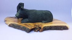 Wood carving mother black bear and cub by OldBearWoodcarving