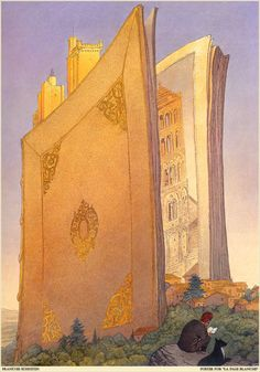 muffle:  booklover:  booksetc:sadburro:   Poster for La Page Blanche François Schuiten i always believe that the habit of reading makes up the whole city