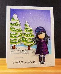 Copic Marker Europe: Let It Snow. Skin: E000, 00, 11 Hair: B41, C5, 7, 100 Purples: V09, 12, 15, 17 Blues: B34, 37, 39 Hearts: R37 Background: B00, BV02, 04 Trees: BG000, C0, 1, 3, E31, 35, 59, G28, YG03, 17, 67 Snow: BG000, C0, 1, 3