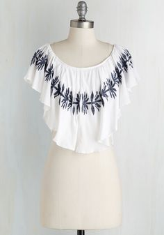 New Rendition Top. With this fluttery, boho crop top hugging your shoulders, you strum your unique take on a classic guitar tune. #white #modcloth