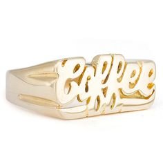 Cof·fee noun, often attributive \ˈkȯ-fē, ˈkä-\ 1. A dark brown drink made from ground coffee beans and boiled water. 2. Coffee beans. Hand-carved unisex brass ring. Available in white brass (silver),