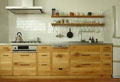 "A few years back we discovered the Japanese equivalent of Plain English and Henrybuilt: KitoBito (""trees and people""), a custom kitchen design company insp Kitchen And Bath, Kitchen Dining, Kitchen Cabinets, Cupboards, Oak Cabinets, Custom Kitchens, Home Kitchens, Kitchen Furniture, Kitchen Interior"