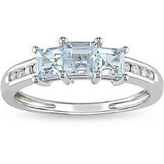 Miadora 10k White Gold Aquamarine and 1/10ct TDW Diamond Ring (H-I, I2-I3) - Overstock™ Shopping - $=(219)
