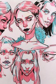 All on Behance - Art Sketches - Pretty Art, Cute Art, Posca Art, Arte Sketchbook, Sketchbook Inspiration, Marker Art, Cool Drawings, Drawing Faces, Aesthetic Art