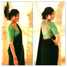 Black saree with sequin border paired with green high neck work blouse